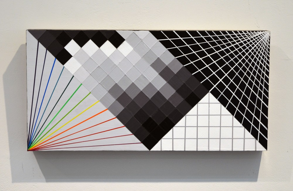 Laura Sellers, Glitch 3, Acrylic and Aerosol on Panel, 10x20