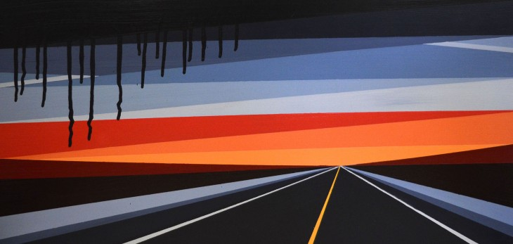 Laura Sellers, HIghwayscape #10, 2017, Aerosol, Acrylic on Exrta Deep Panel, 12x24